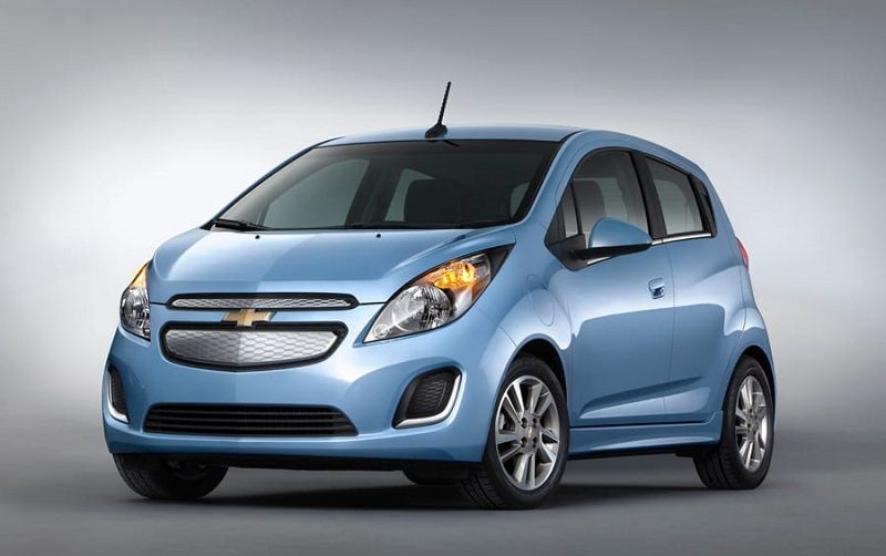 Front view of blue Chevy Spark from 2014