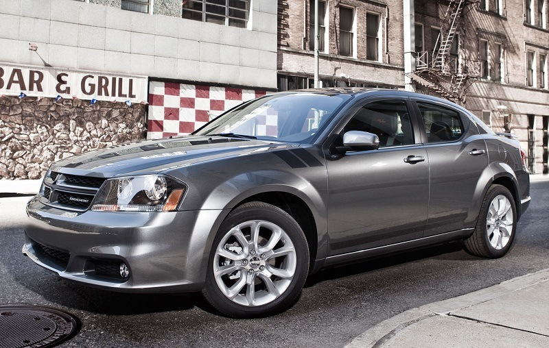 Street shot of midsize Dodge Avenger sedan, 2014 model year