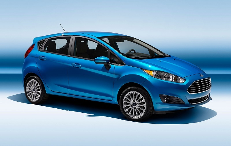 Passenger's side angle front three quarter shot of 2014 Ford Fiesta hatch