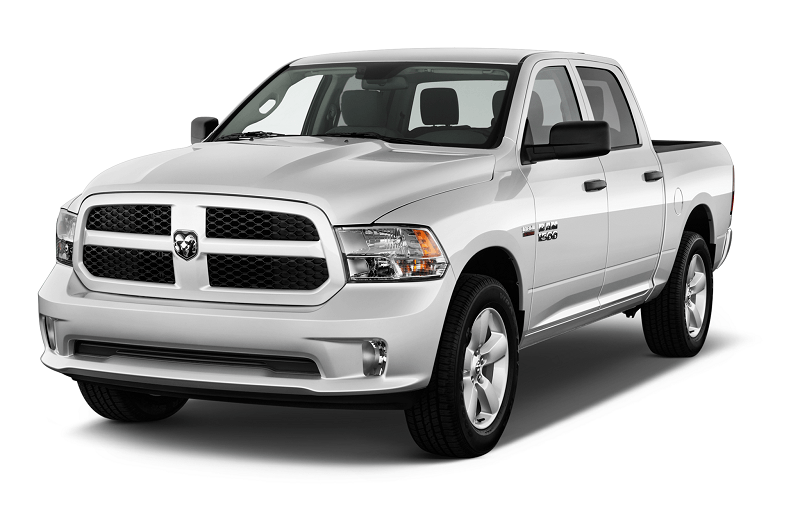 Front three quarter shot of white Ram 1500 crew cab for 2014