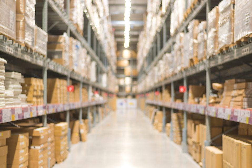 Abstract blur warehouse or storehouse background.