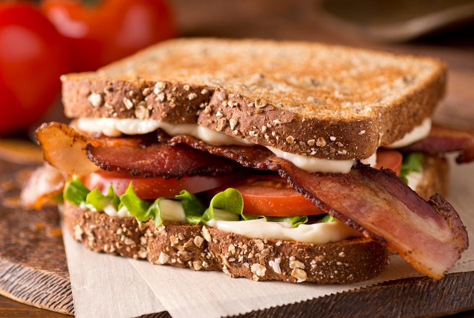 A delicious bacon, lettuce, and tomato blt sandwich.