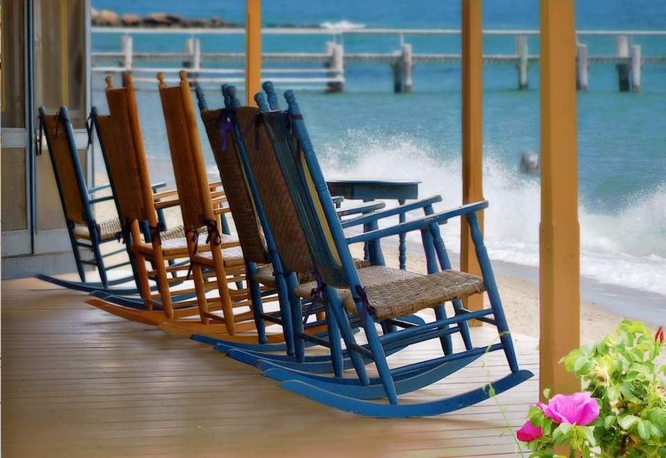 rocking chairs on beachfront porch
