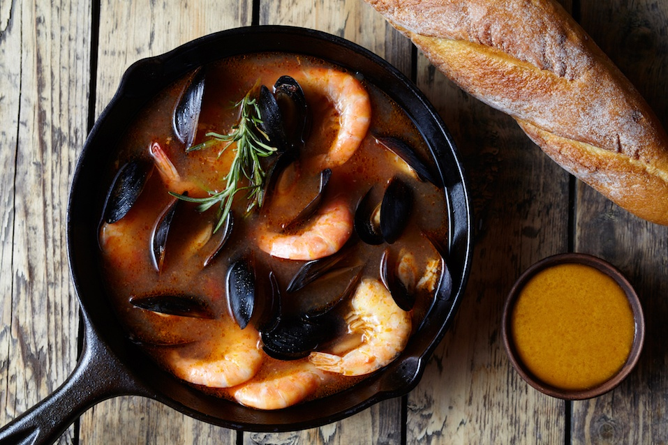 Bouillabaisse seafood fish soup with prawns, mussels tomato, lobster. Sauce Rouille