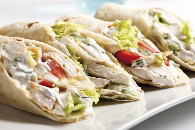 Try eating your grilled chicken on a wrap instead of in a salad.