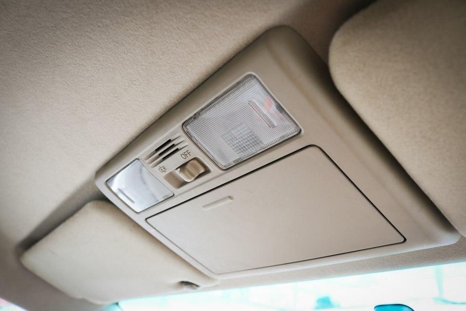Close up interior light in car