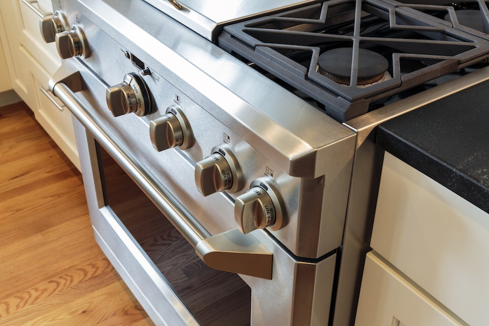 stainless steel stove with oven