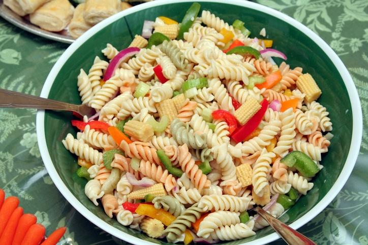 Bowl of colored rotini pasta