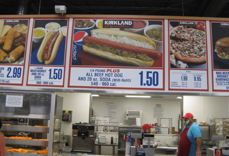 Costco displays its hot dog deal.
