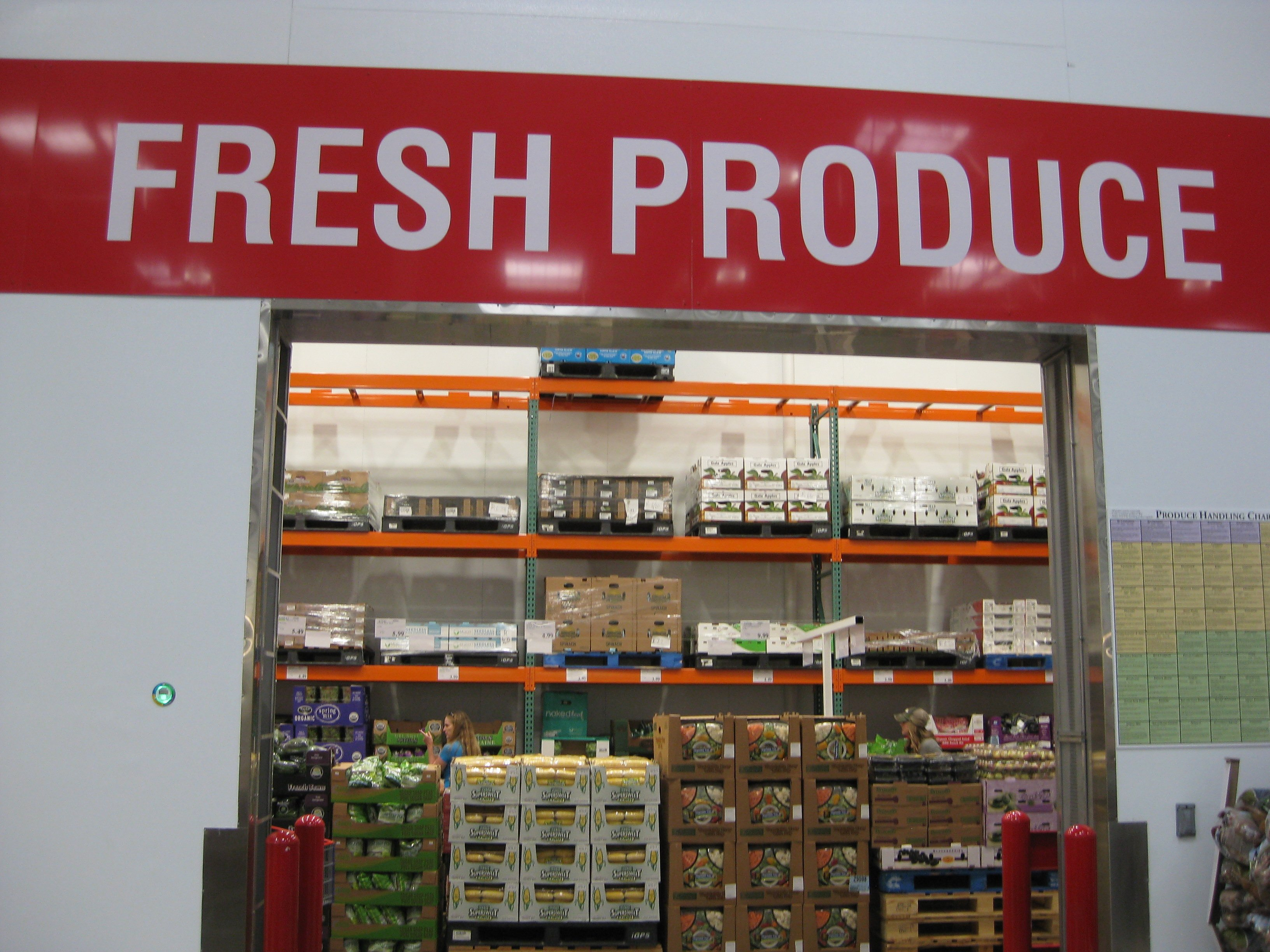 Costco's fresh produce refrigeration section