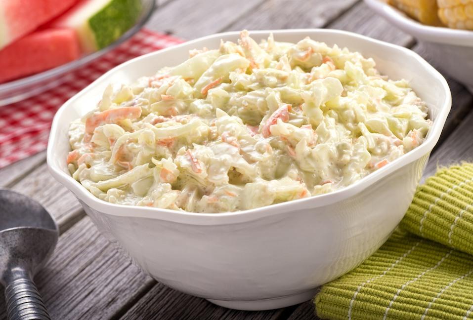 A bowl of delicious creamy homemade coleslaw