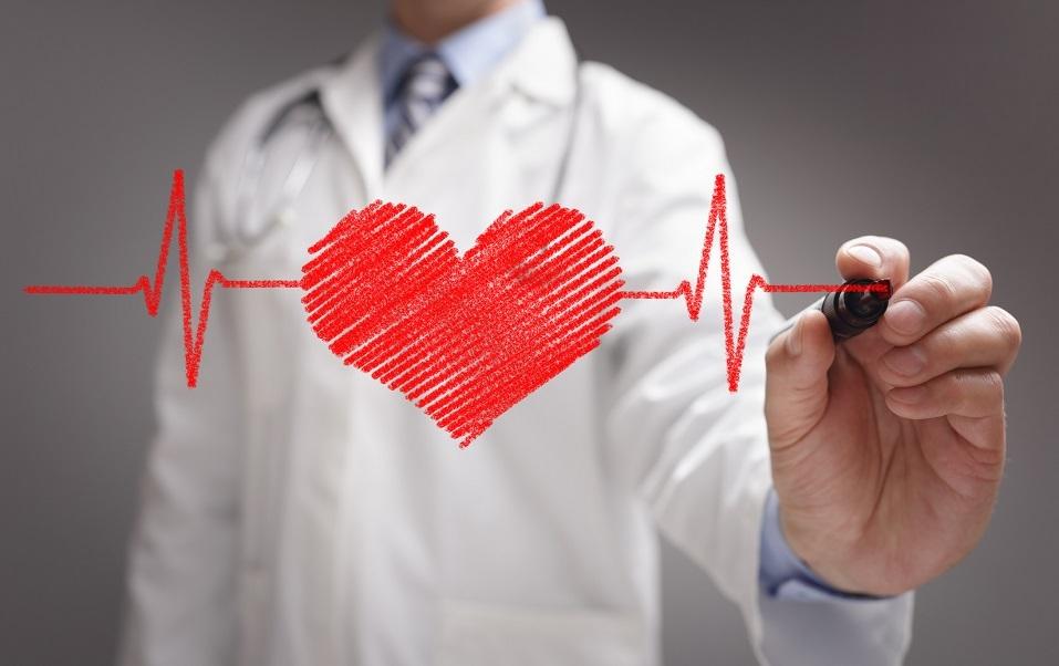 Doctor drawing ecg heartbeat chart