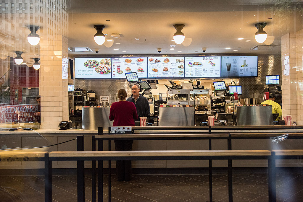 The interior of Chick-Fil-A