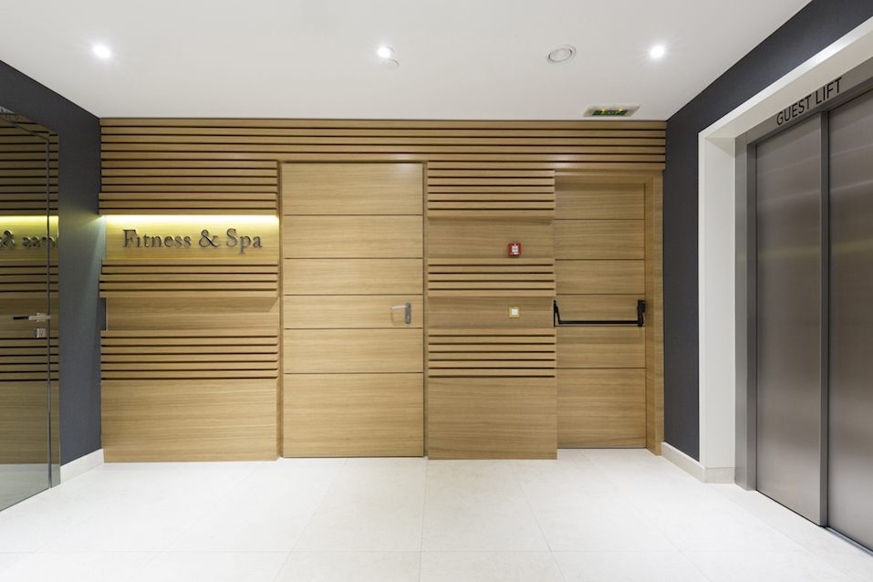 Fitness and spa center entrance