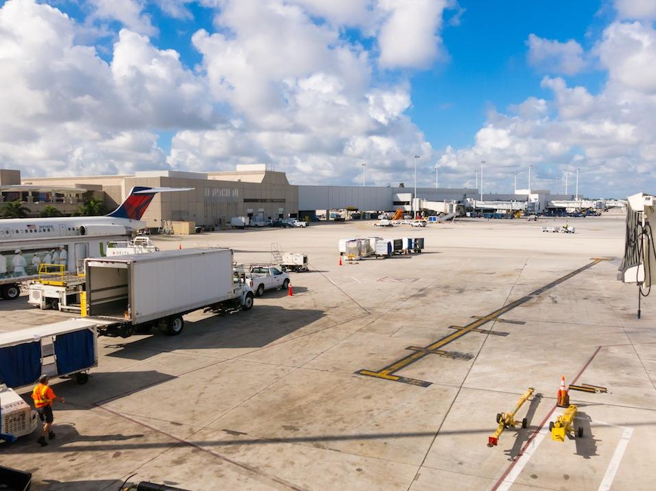 Platform of Fort Lauderdale Hollywood International Airport in Florida, USA