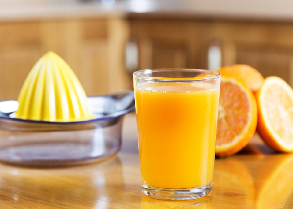 A freshly squeezed orange juice in a glass