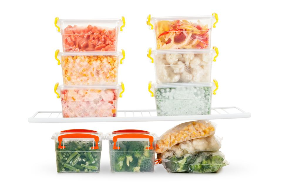 organized containers of food in the fridge