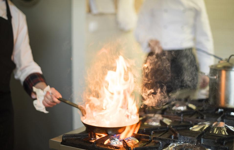 Frying pan is on fire