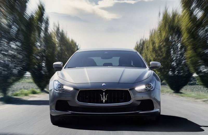 Front view of Maserati Ghibli on country road