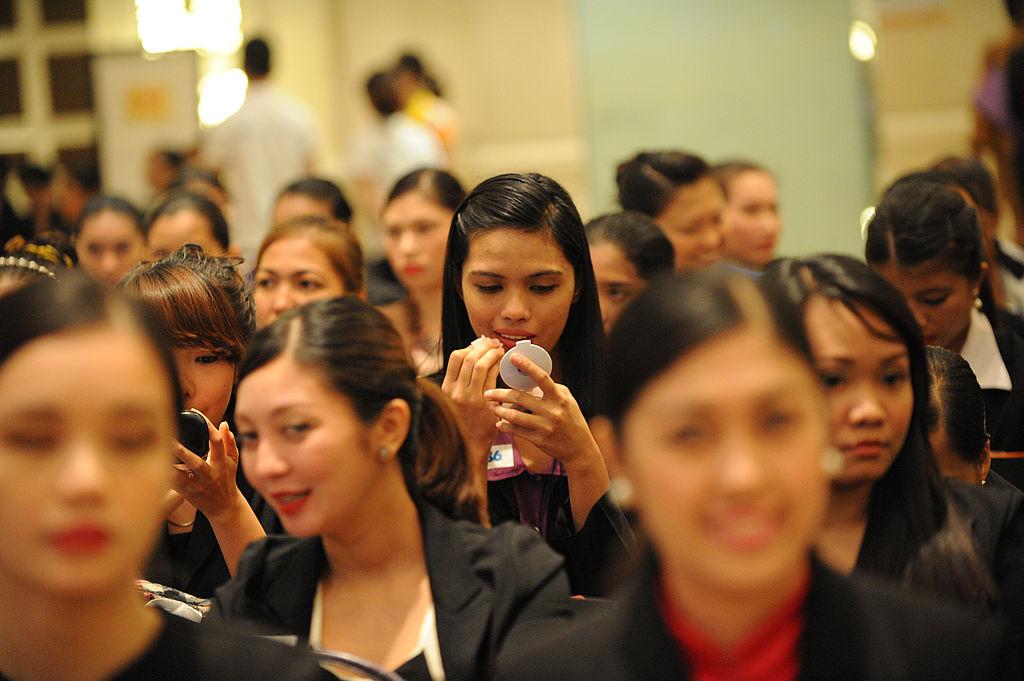Women prepare for job interviews