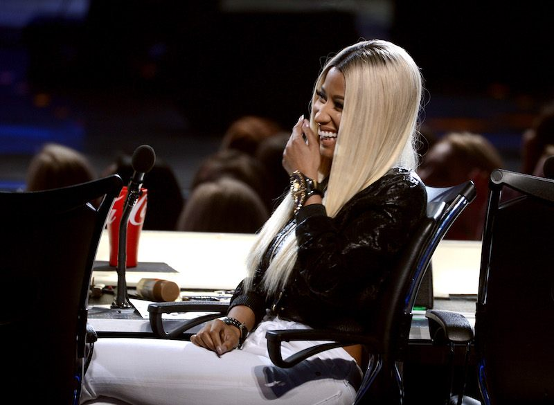 Nicki Minaj sits in her chair on the panel of American Idol