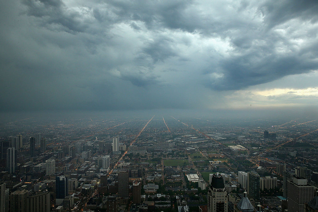 Storm clouds push toward downtown