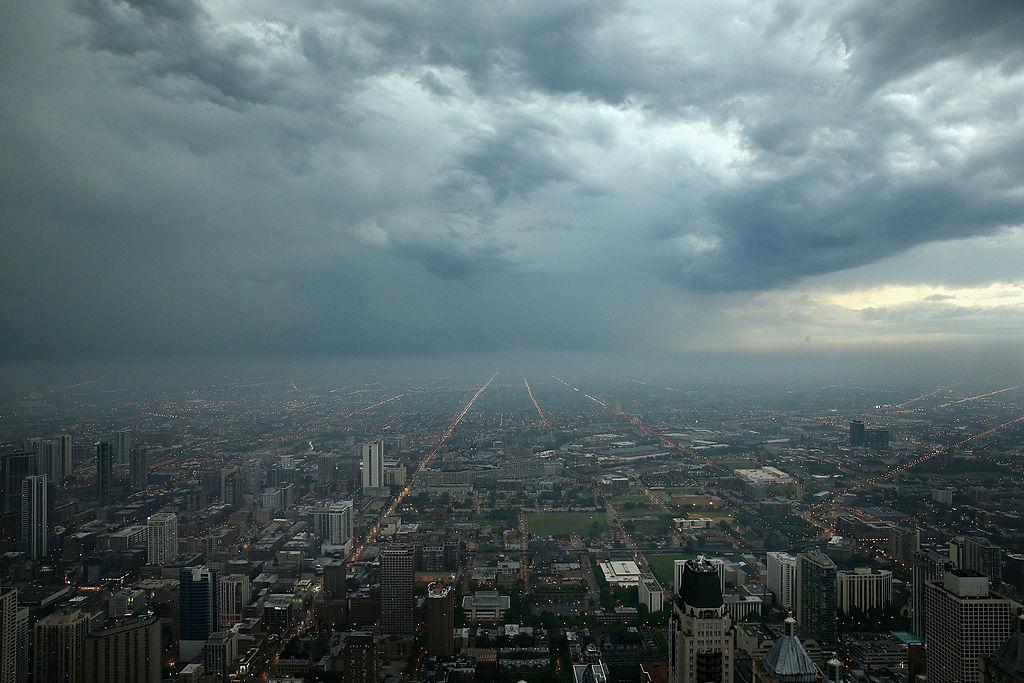 Storm clouds push toward downtown