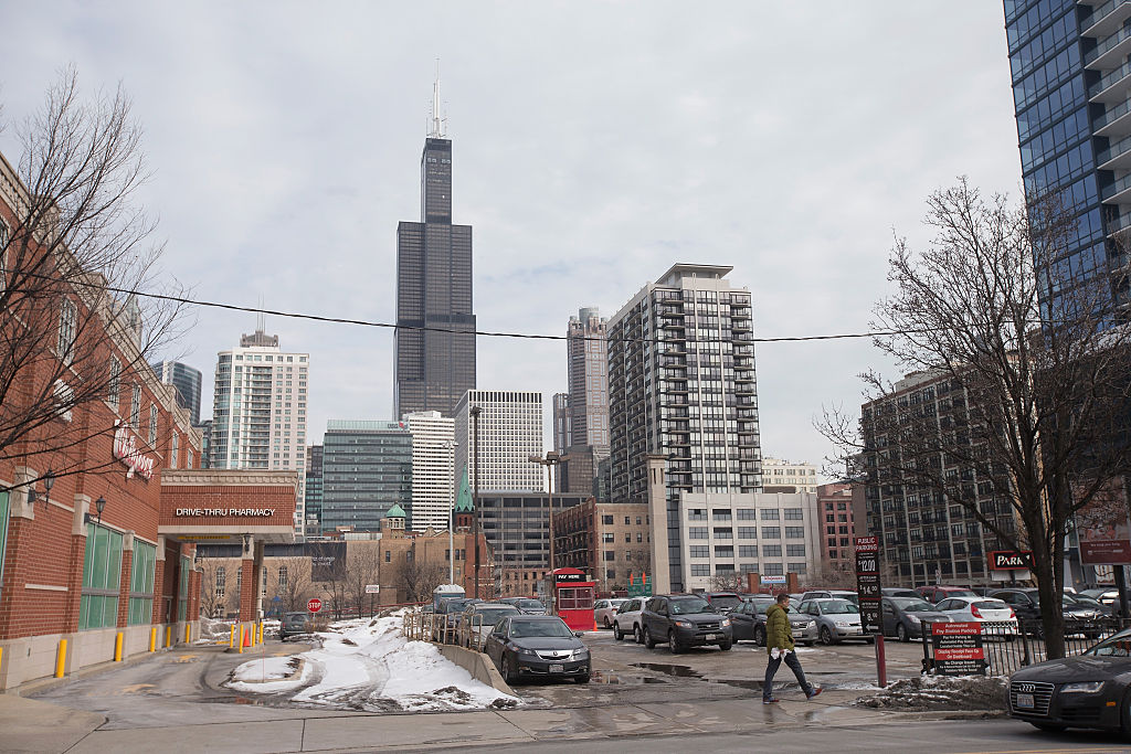 The Willis Tower, formerly known as the Sears Tower, dominates the southern end of the downtown skyline