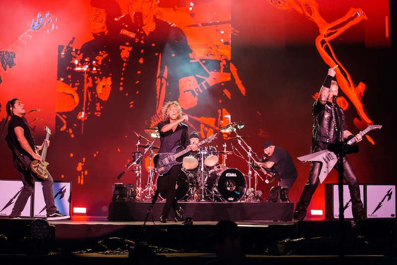 Robert Trujillo, Kirk Hammett, Lars Ulrich, and James Hetfield members of the band Metallica performs live on stage