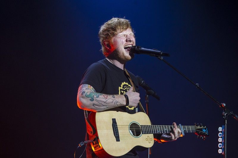 British singer-songwriter Ed Sheeran performs during a concert at the Ziggo Dome i