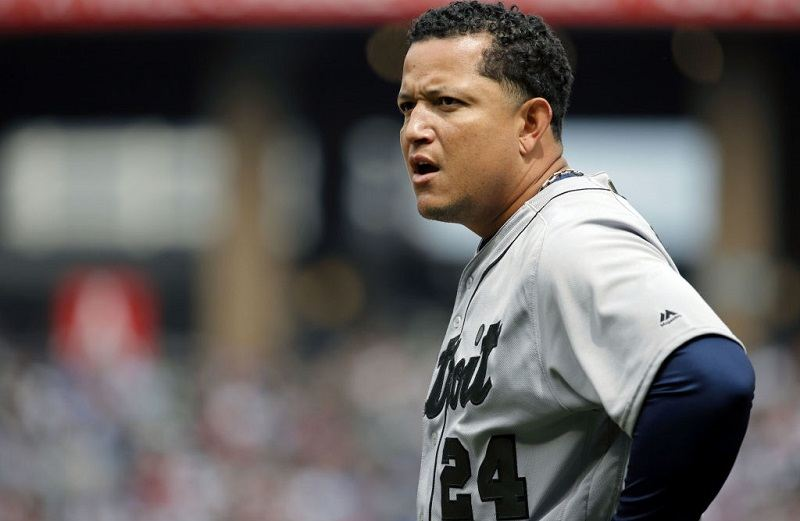 Miguel Cabrera scowls at Guaranteed Rate Field on May 28, 2017 in Chicago, Illinois. MLB players across the league are wearing special uniforms to commemorate Memorial Day.