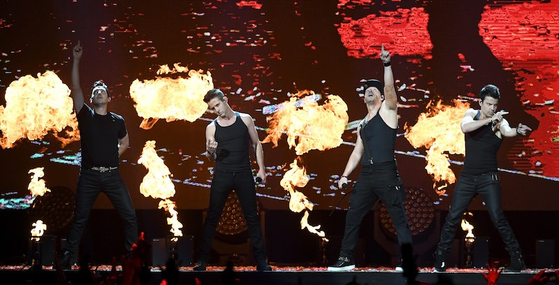 New Kids on the Block perform during a stop of The Total Package Tour at T-Mobile Arena