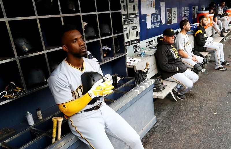 Shot Andrew McCutchen and the Pirates in the dugout during their game at Citi Field on June 4, 2017 in New York City.