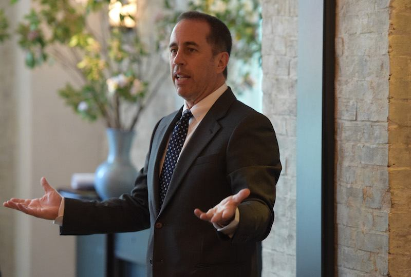 Host Jerry Seinfeld speaks at the GOOD+ Foundation & MR PORTER Host Fatherhood Lunch