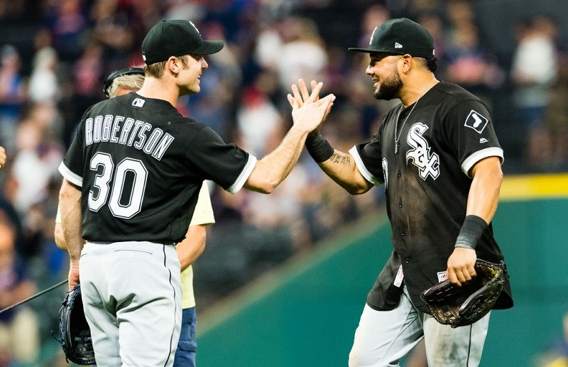 Shot of Melky Cabrera and avid Robertson celebrating after a White Sox win in 2017.