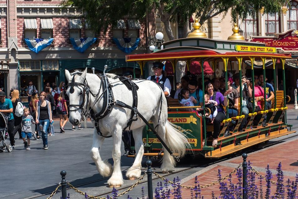 Horse-drawn streetcar at Disneyland