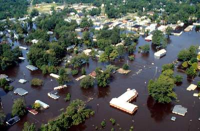 aerial shot of flooded neighborhood