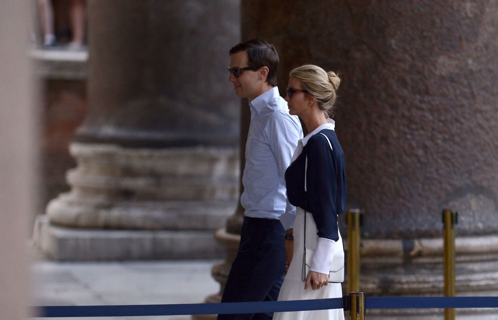Ivanka Trump and Jared Kushner leave a plane
