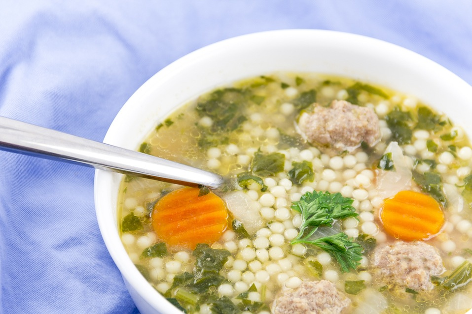 Italian wedding soup with meatballs and pepe noodles