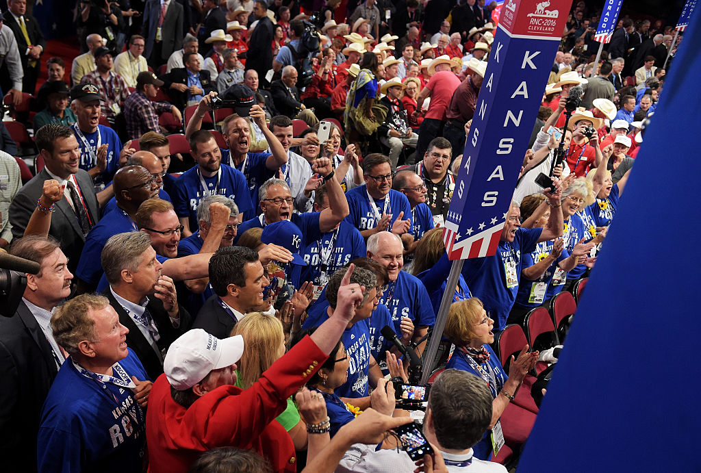 Delegates from Kansas take part in the roll call at the Republican National Convention
