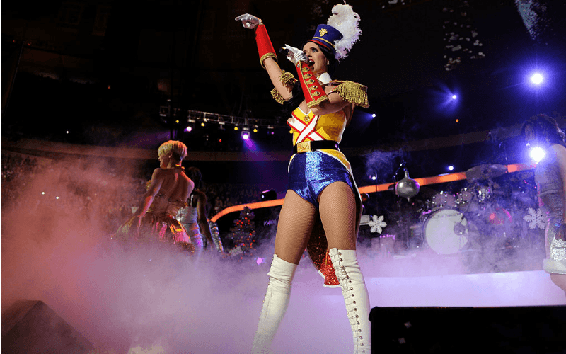 Katy Perry is dressed as the Nutcracker as she performs on stage.