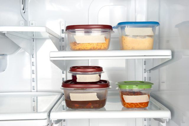 Leftovers in food containers