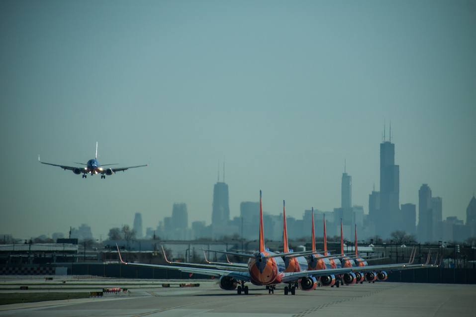 Numerous Southwest Airlines Boeing 737s lined up for takeoff