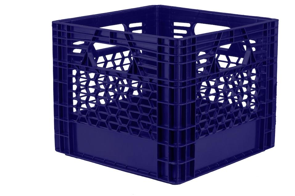 Blue plastic milk crate