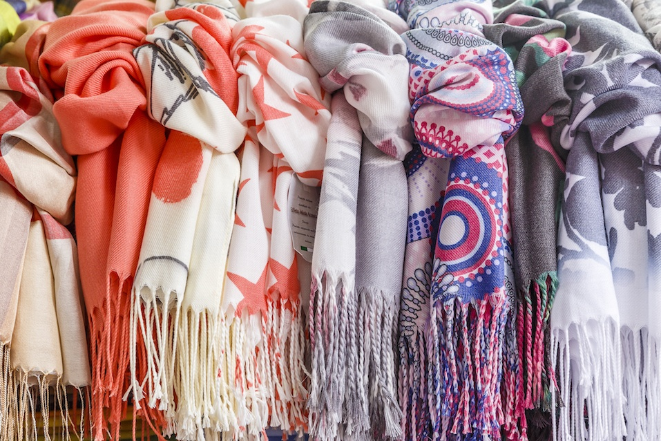 Multicolored scarves