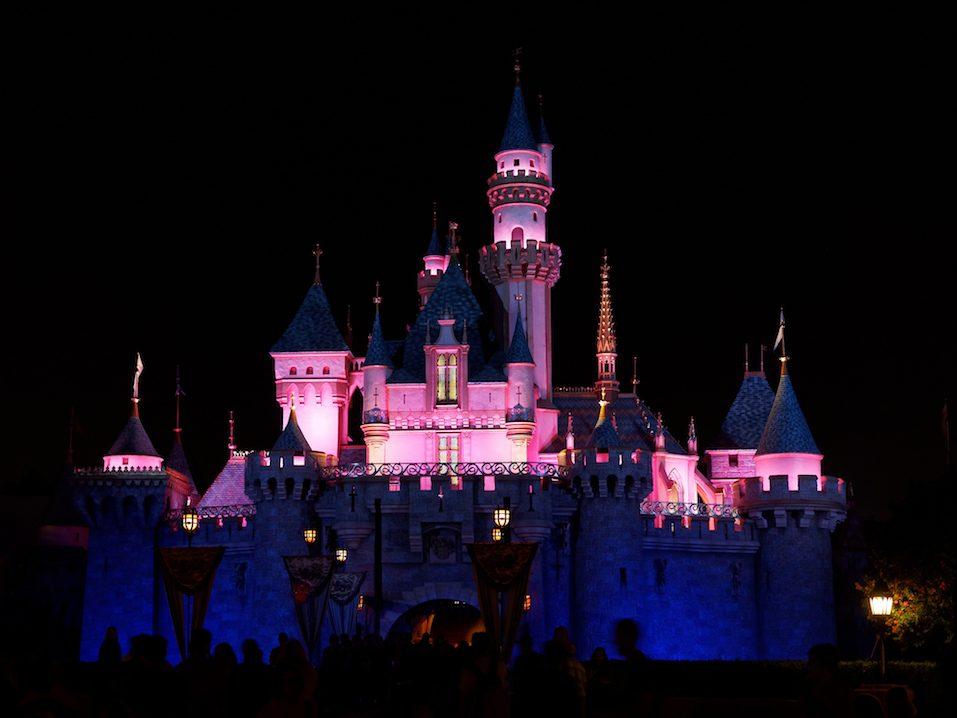 Night shot of Disney's Sleeping Beauty Castle in Fantasyland