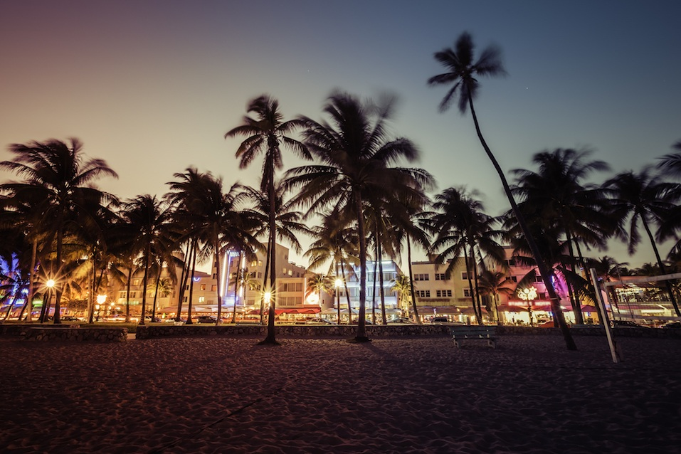 Ocean Drive with illuminated buildings