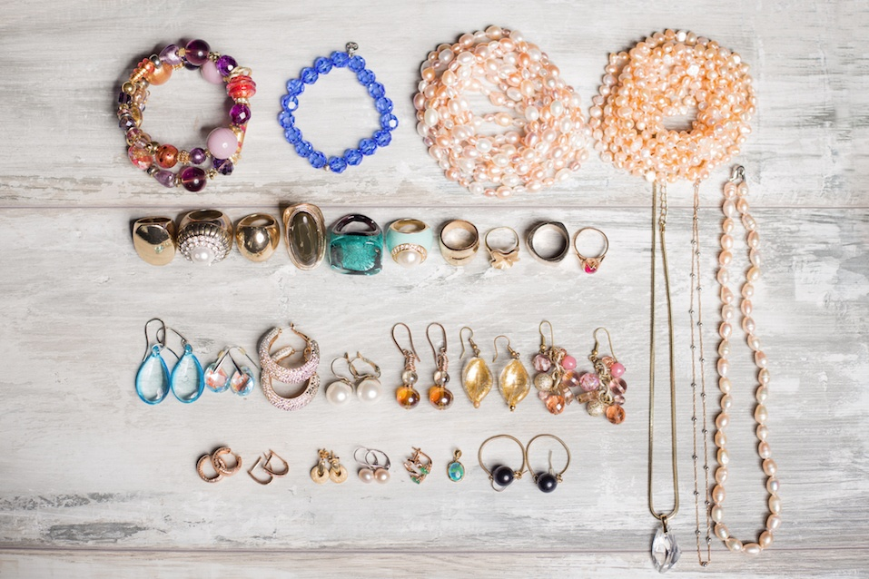 grouping of organized jewelry