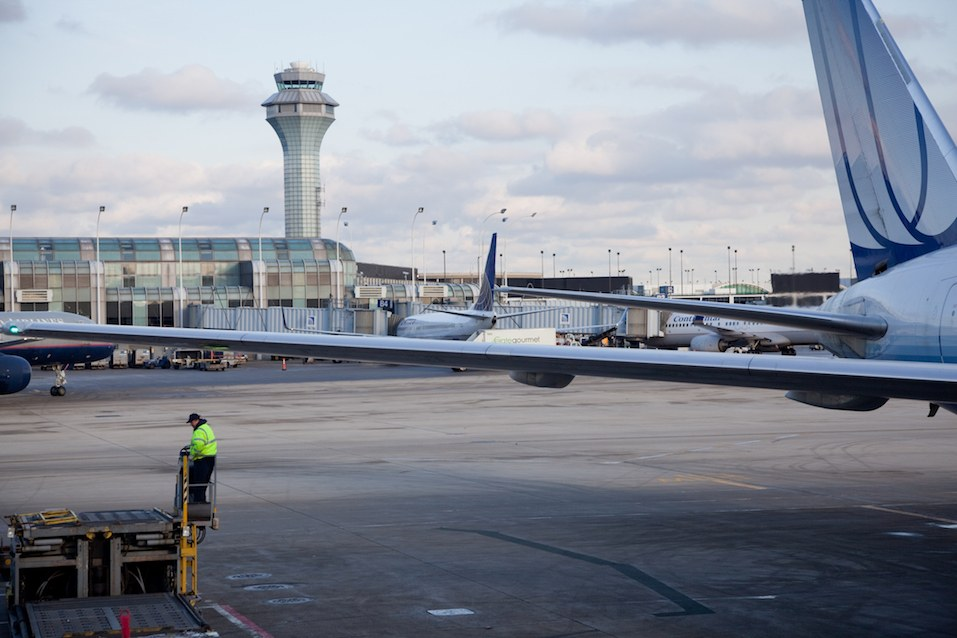 United Airlines plane at departure terminal at O'Hare International Airport
