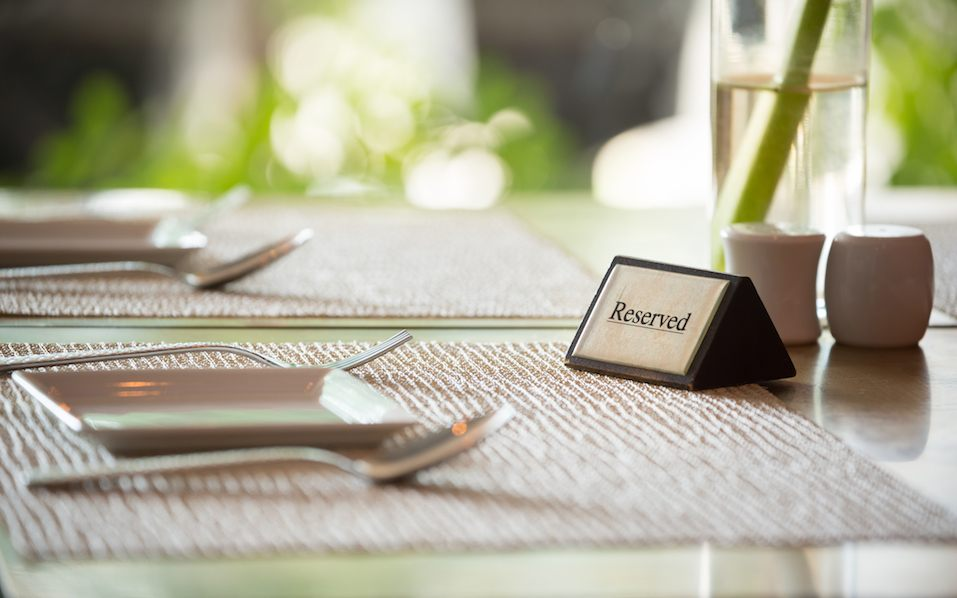Reserved sign on a table